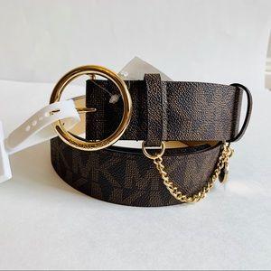 Michael Kors Logo Chain Charm Belt Brown/M/ NWT